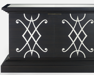 Ebony and Inlaid Vellum Credenza