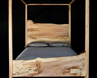 Queen Canopy Bed - Spalted Maple