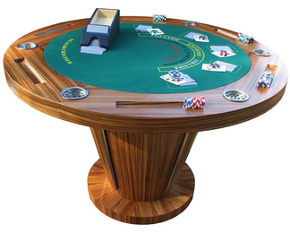 Zebrano & Stainless Steel Poker Table
