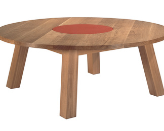 Oak Dining Table with Red Leather Lazy Susan