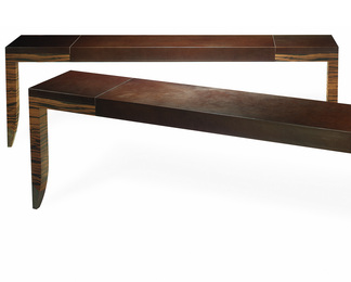 Macassar Ebony and Stitched Leather Console