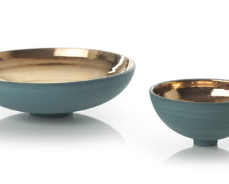 Sea Green Bowl with Gold Lustre Interior -Set