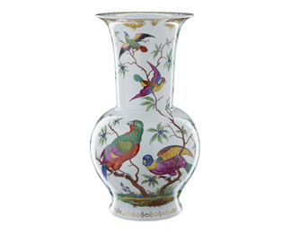 Vase with Exotic Birds and Gold
