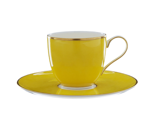 Lotos Coffee Cup with Gold Rim - Yellow